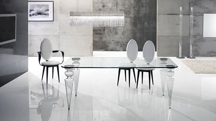 REFLEX ANGELO GREAT CHANNEL 72 Dining table with legs in  : reflex angelo great channel 72dining table with legs in murano glass available in transparent from www.davincilifestyle.com size 720 x 405 jpeg 37kB
