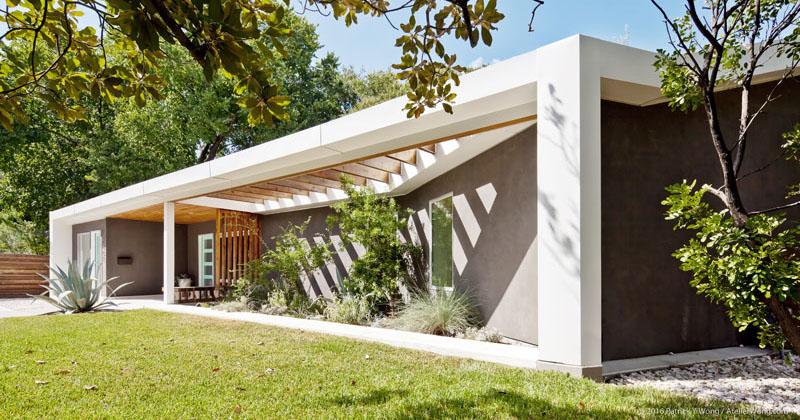 Contemporist this 1962 ranch style home in texas was for Texas ranch piani casa con portici
