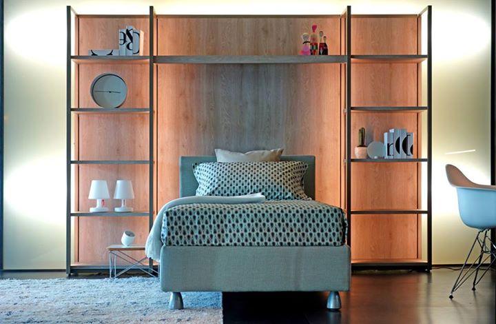 Flou our nightbed and the continuum library by natevo for Al portico arredamenti