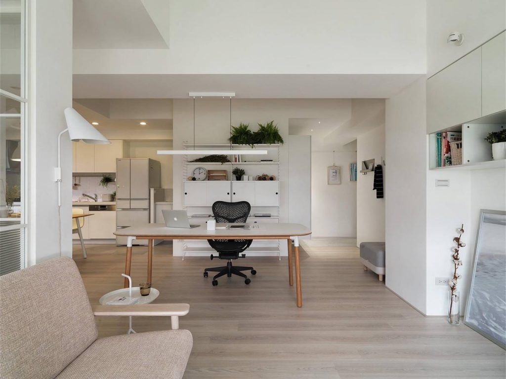 home designing completely white apartment with dominant central home office contemporary