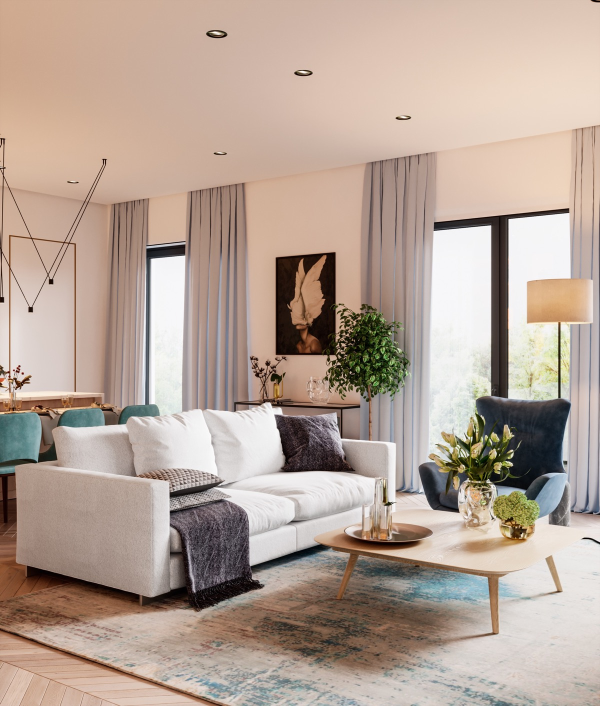 HOME DESIGNING: Restful Interior With Blue & Brass Accents Running ...