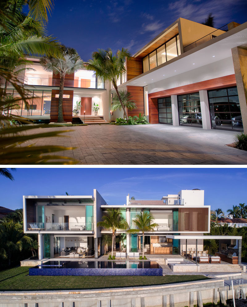 The concept behind the design of this new house was tropical modern with a heavy influence of mid-century modern architecture. #ModernHouse #ModernArchitecture