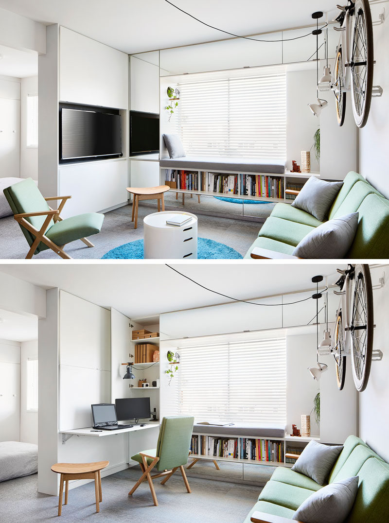 The living room in this modern apartment also doubles as a home office / study, with the desk, computers, and lighting, hidden behind cabinet doors when not in use. #ModernApartment #ModernHomeOffice #SmallLivingRoom #HomeOffice