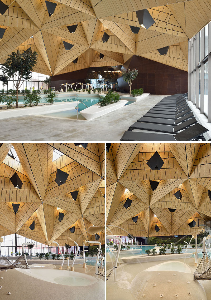 Inside this modern wellness complex, tetrahedral shapes used for the ceiling / roof allowed the entire pool space to be covered virtually without supports. #Architecture #BuildingDesign