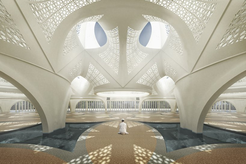 NUDES uses islamic geometric patterns to create 'mosque of light' proposal in dubai