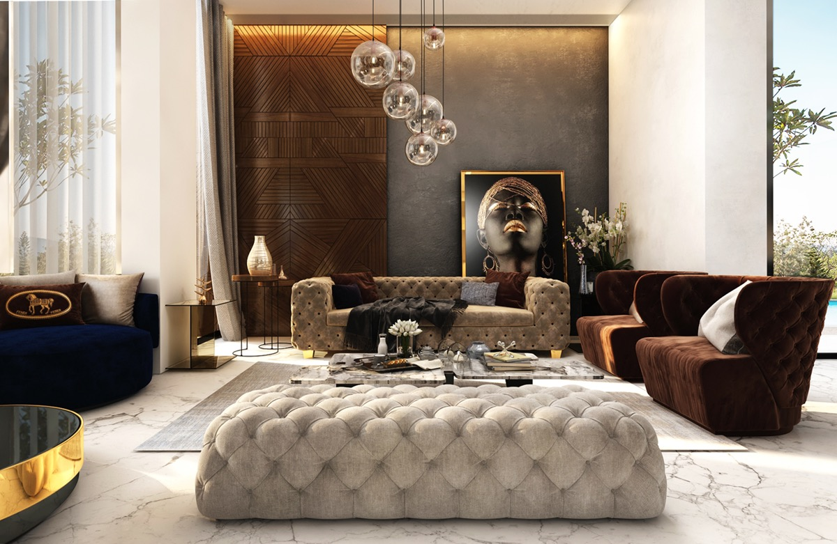 luxury modern living room decorating showing black velvet | HOME DESIGNING: 51 Luxury Living Rooms And Tips You Could ...