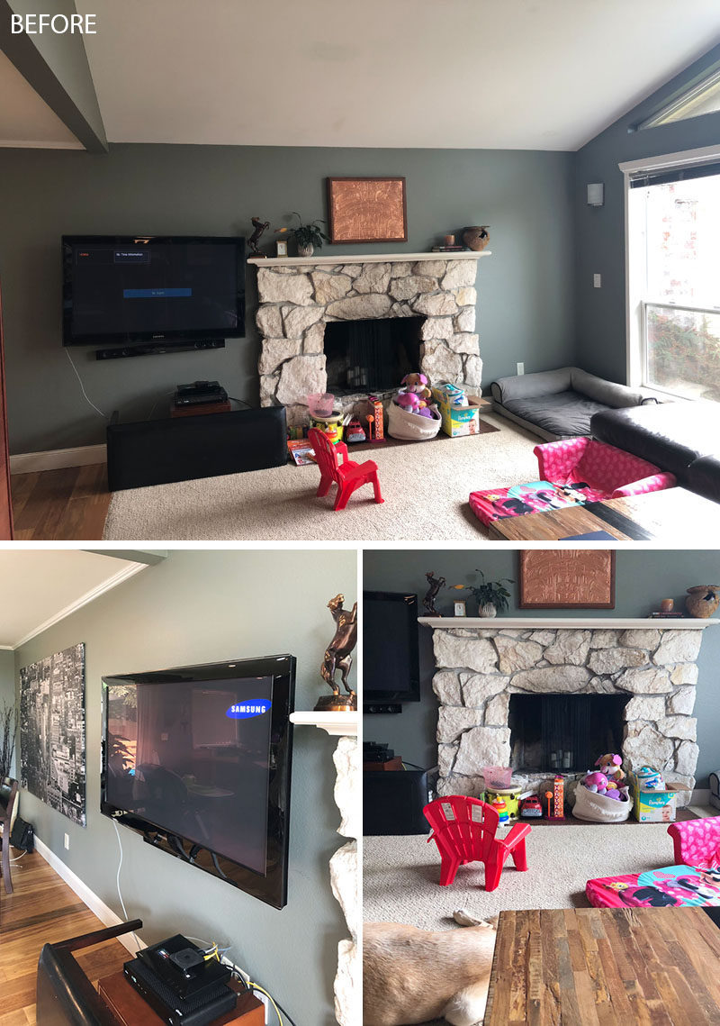 Before & After - Seattle-based interior design firm ULLEstudio, has recently completed the modern renovation of a open plan living room and dining room. #LivingRoomRenovation #FireplaceRenovation #FireplaceRemodel