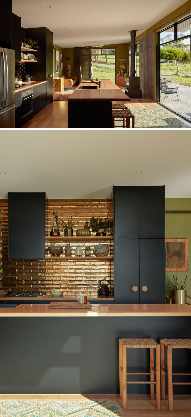 Sliding doors that fill the interior of this modern house with natural light and open the interior to the porch, creating indoor/outdoor living experience, while a metallic backsplash brightens up matte black kitchen cabinets. #ModernInterior #BlackKitchen #MetallicBacksplash