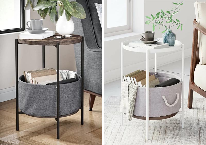 Most living rooms have side tables and coffee tables, so why not choose a design that does double duty. A table with built-in storage can either keep your blankets on display or hide them away. #BlanketStorage #CoffeTable #StorageTable #SideTable #CoffeeTable