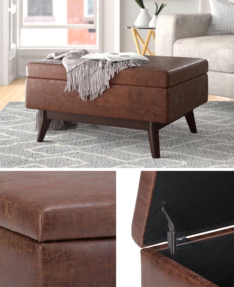 Ottomans with hidden storage are perfect for keeping blankets within an arms reach, but there also a way to store other living room items, like remotes, books, magazines, etc. #BlanketStorage #Ottoman #StorageOttoman