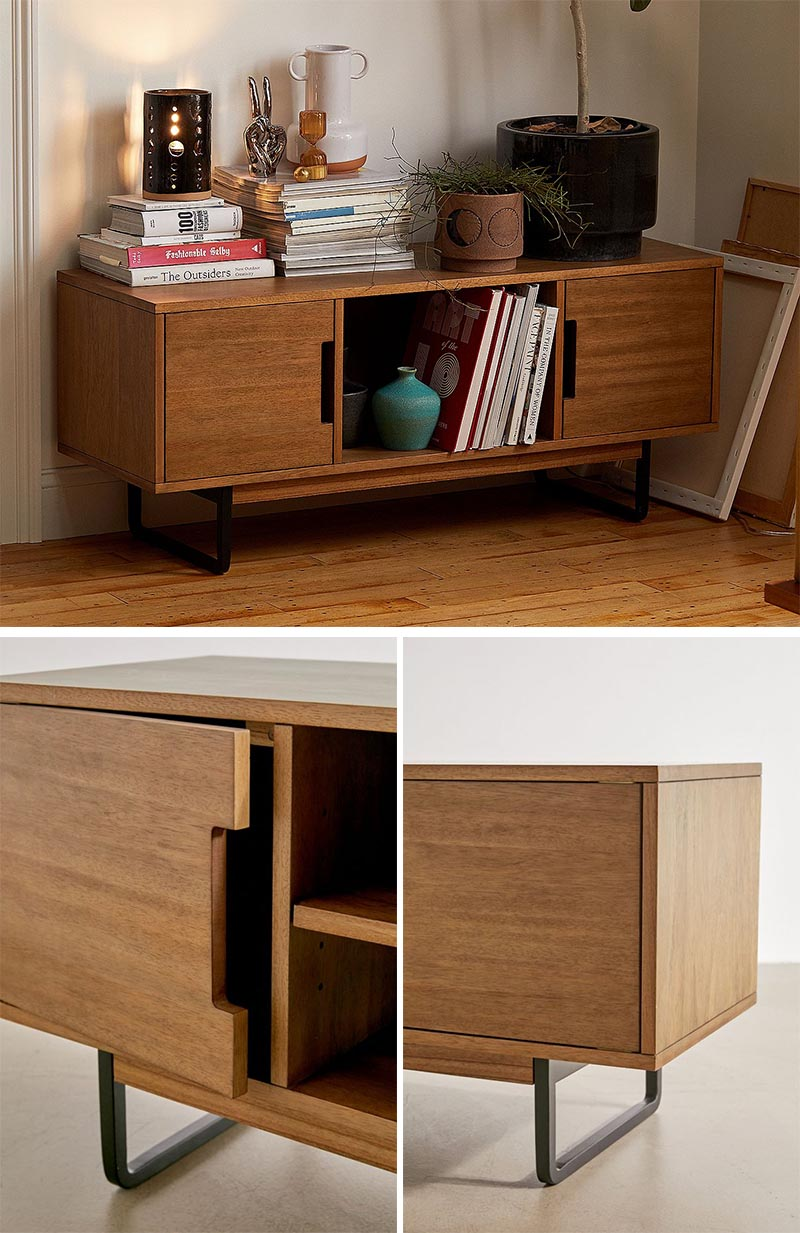 A low credenza is a good option if you want to store your blanket in addition to other items, like books, decorative items, and plants. #FurnitureDesign #BlanketStorage #LowCredenza