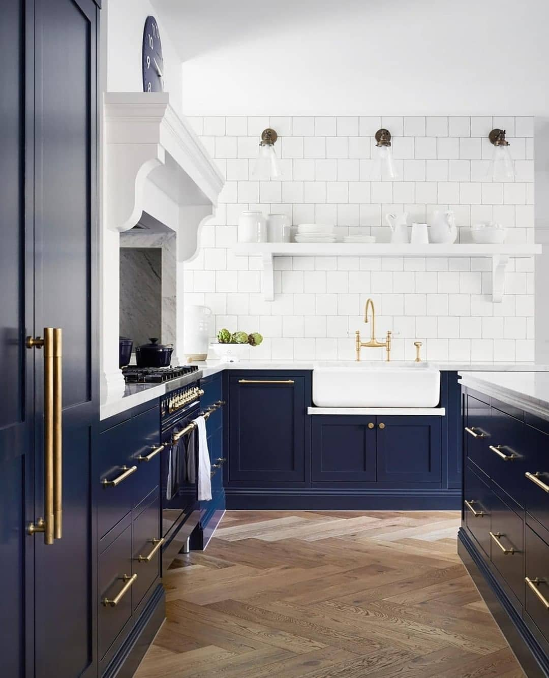 With a clean white splashback and basin ...