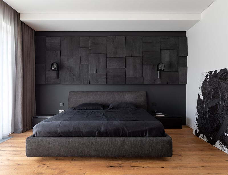 Contemporist A Blackened Wood Accent Wall Provides Some Creative Texture In This Bedroom Da Vinci Lifestyle