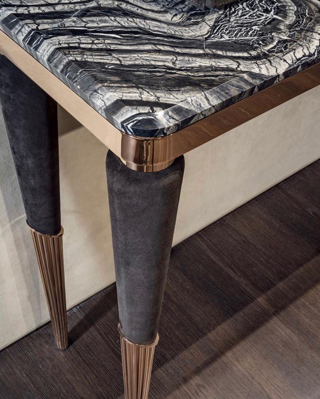 Odette console  Design: Giuseppe Iasparra Black-rose metal with chocolate suede,...