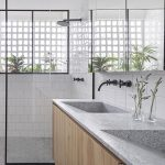 CONTEMPORIST: Here's A Close Look At A Bright Bathroom With A Material Palette Of Wood, Granite, And Black Accents