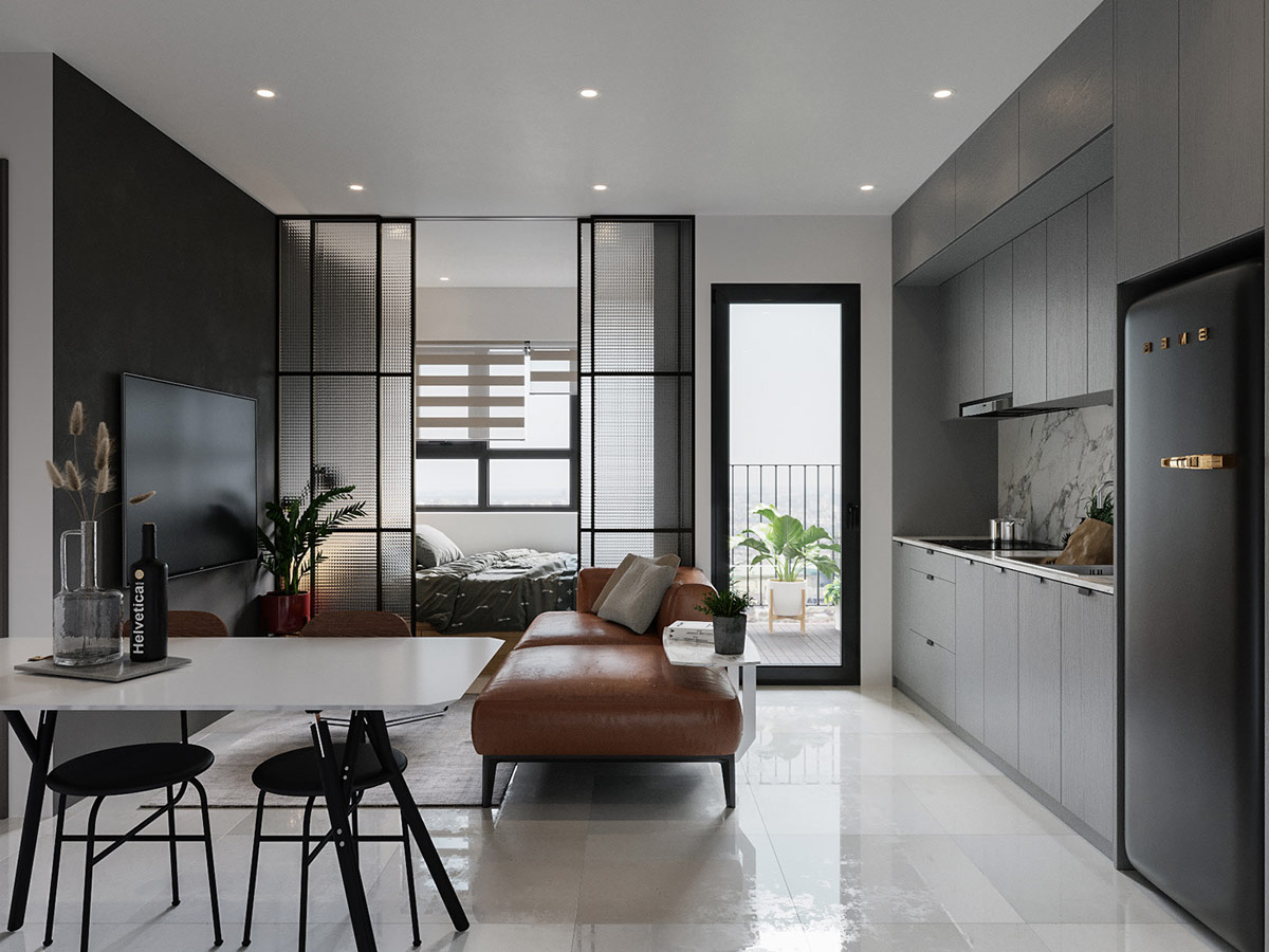 HOME DESIGNING Black Framed Glass Wall Bedrooms And Open Plan ...