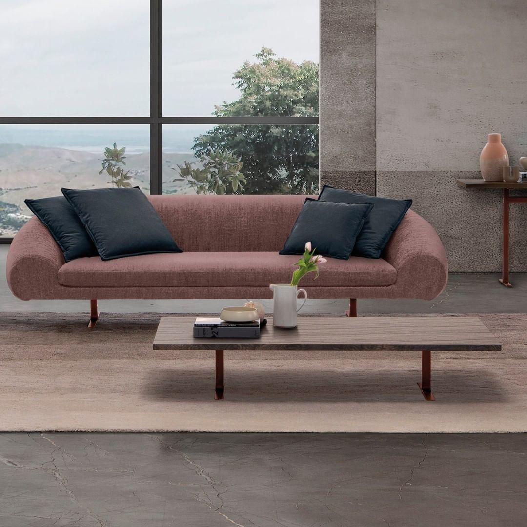 This pink sofa's name is Linear Airstrik...