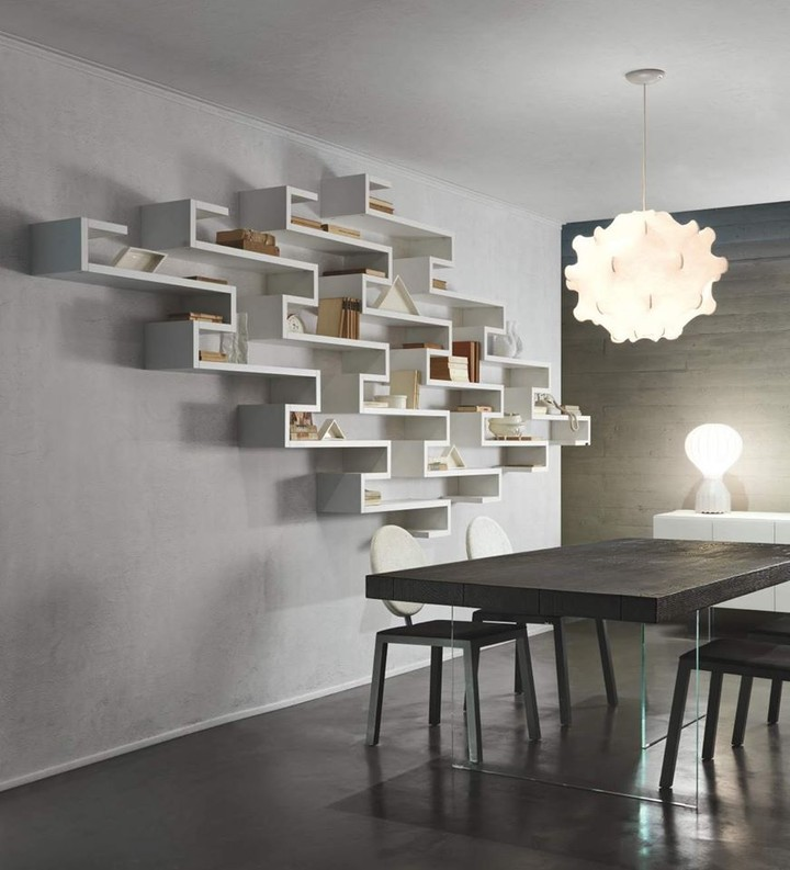 Create a suspended bookshelf on the wall...