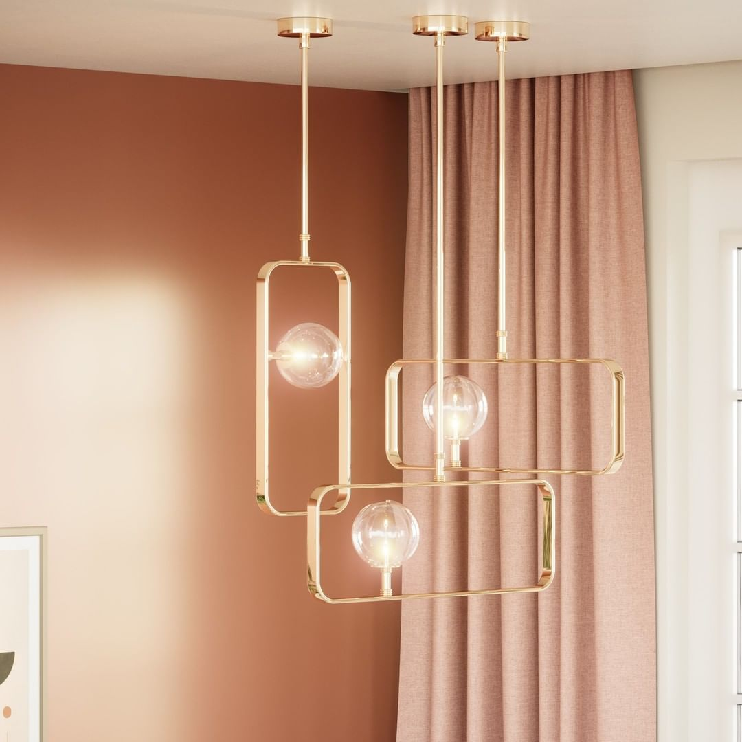 A simple and elegant brass frame in the shape of rectangles that complement each...