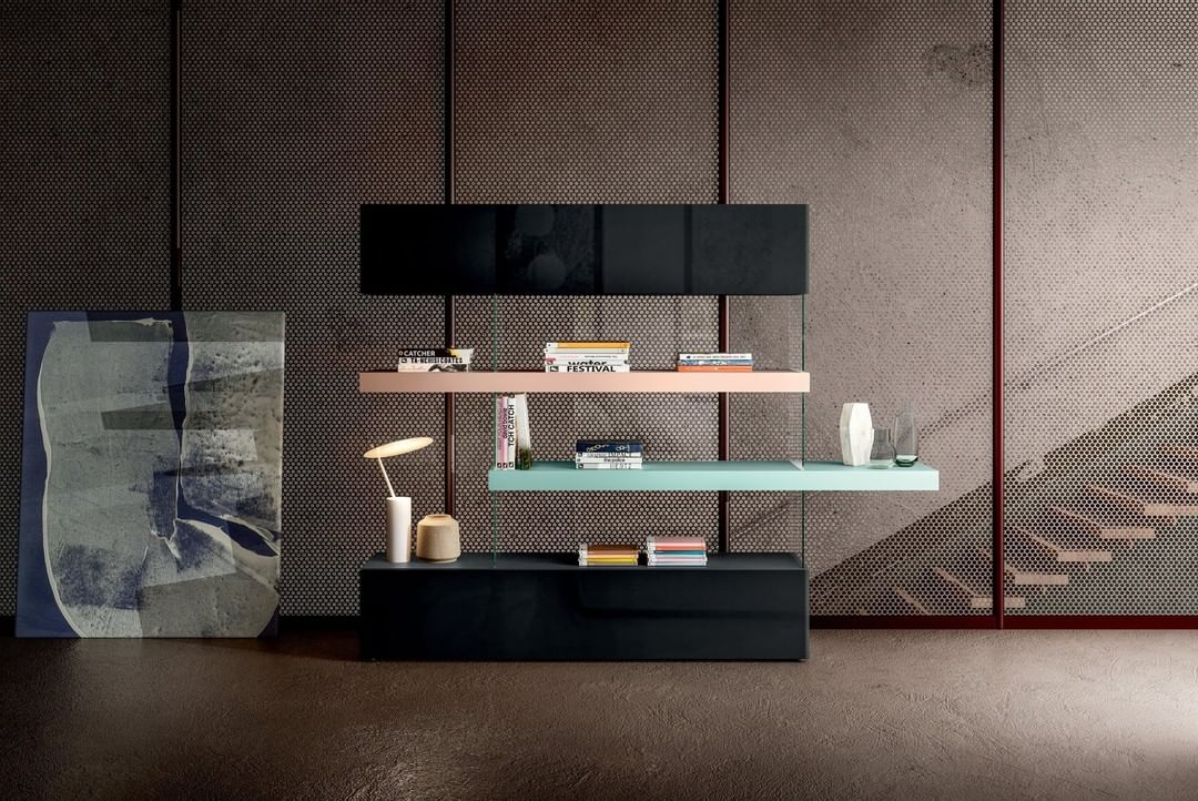 The shelves, in lacquered wood or Wildwo...