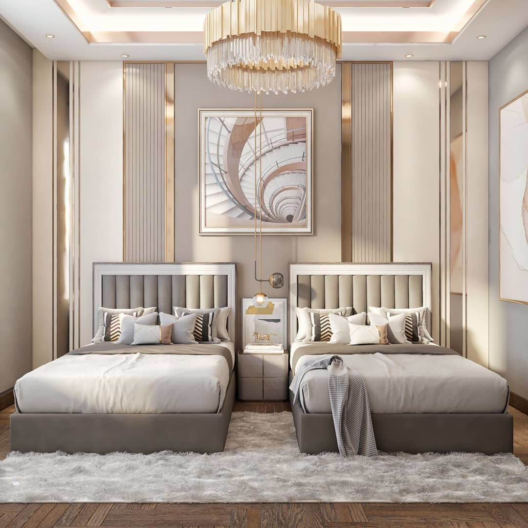 A kids bedroom furnished with a neutral ...
