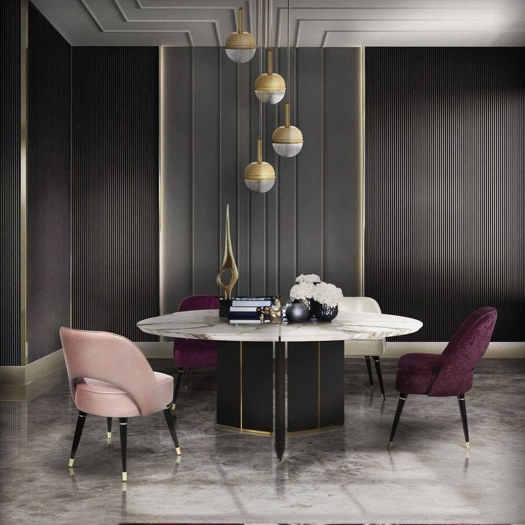 Algerone is an opulent round dining tabl...