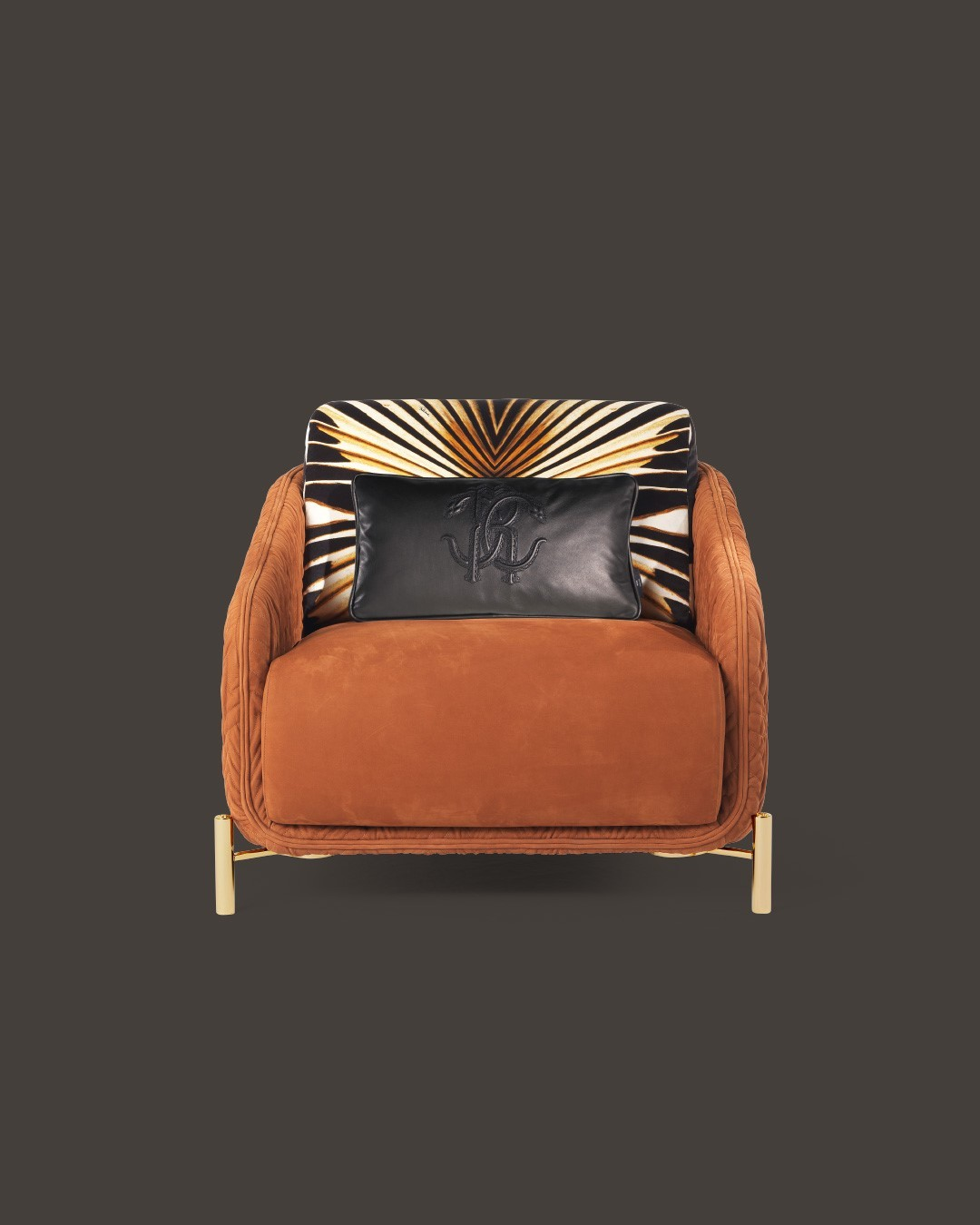 Upholstered in nubuck, in an orange shad...
