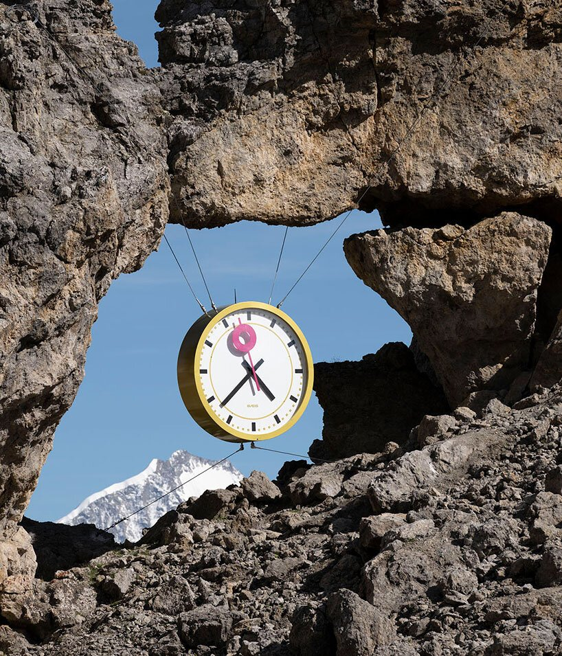time literally slows down in the swiss hills with GÆG's clock installation
